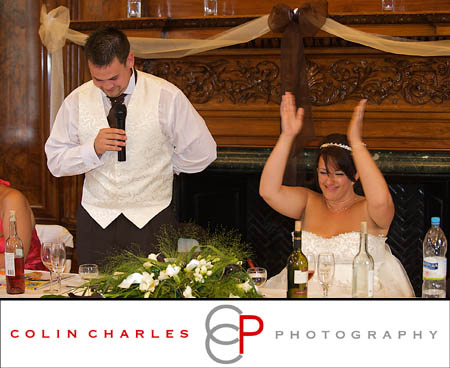 Emma having fun during the wedding speeches